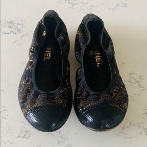 CHANEL Metallic Black and Gold Ballet Flats